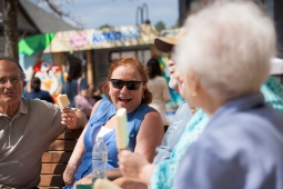 Neighborhood residents indulge in sweet treats and good company during the Mt Laurel Spring Festival.
