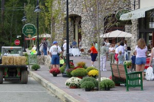 Crafts from local artisans line the sidewalks during the Mt Laurel Fall Festival.