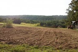 Land plowed for growing tomatoes, peppers, and other vegetables awaits seeding on Mt Laurel's 25-acre organic farm.