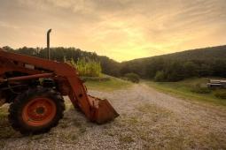 Dusk settles over Mt Laurel's 25-acre organic farm.