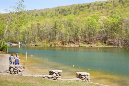 Mt Laurel's Spoonwood Mountain Lake offers opportunities for fishing, swimming, or playing on the beach.