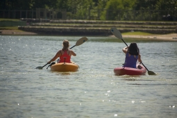 Enjoy kayaking on Mt Laurel's 11-acre Spoonwood Mountain Lake.